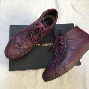 Men's Converse Dark Red One Star Pro Mid Sneakers